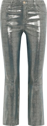J Brand Selena Metallic Snake-print Leather Kick-flare Pants