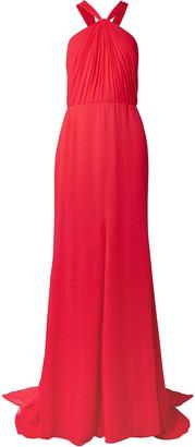 Oscar de la Renta Draped Silk-crepon Halterneck Gown