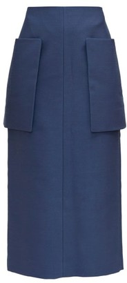 The Row Jenna Front-pocket Technical Midi Skirt - Mid Blue