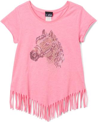 A Wish Girls' Tee Shirts Pink - Pink Sequin Horse Cut Hem Tee - Toddler & Girls
