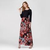 Sami & Dani Women's 3/4 Knit Dress with Printed Woven Skirt