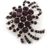 Avalaya Deep Purple Crystal 'Bow' Brooch In Silver Plating - 5.5cm Length