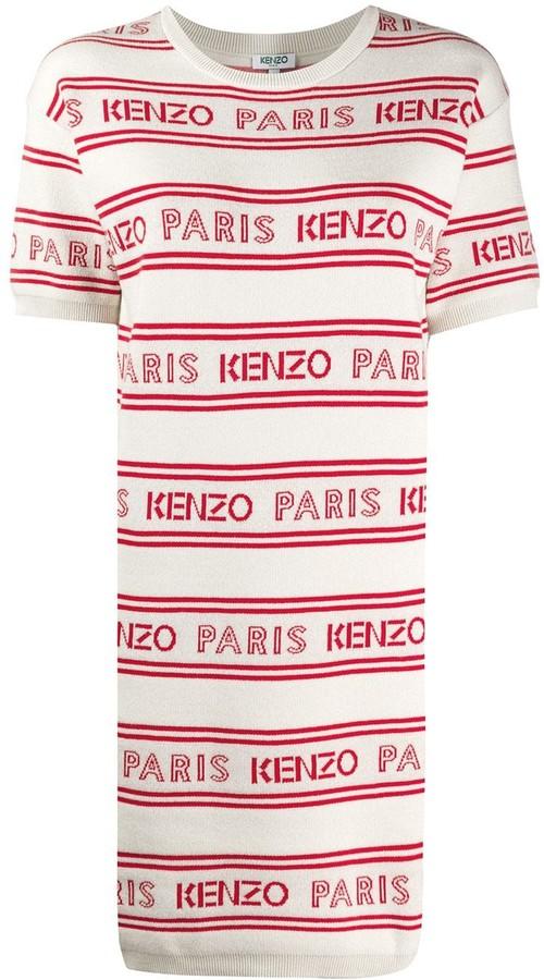 Kenzo Logo Print Striped Dress