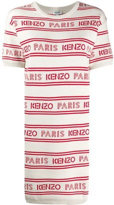 Kenzo Logo Print Striped Dress