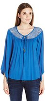 NY Collection Women's Angeled Long Sleeve Boat Neck Top with Lace At Yoke