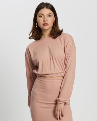Missguided Women's Pink Midi Skirts - Coord Rib Crop Top And Midaxi Skirt Set - Size 10 at The Iconic