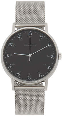 Issey Miyake Silver and Black F Series PM Face Watch