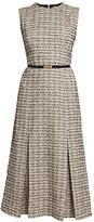 Victoria Beckham Belted Tweed Midi Dress