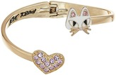 Betsey Johnson Cat & Pave Heart Bypass Hinged Bangle Bracelet