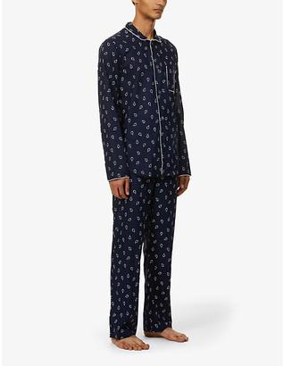 Derek Rose Nelson 74 modern-fit graphic-print cotton pyjama set