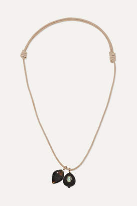 Dezso by Sara Beltrán Leather, 18-karat Rose Gold, Agate And Tourmaline Necklace - one size