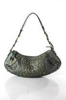 Cole Haan Green Metallic Leather Studded Hobo Shoulder Handbag