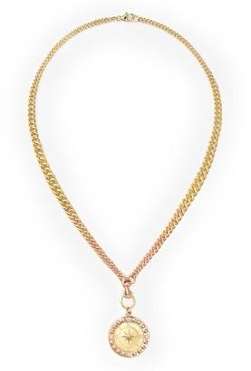 Foundrae 18K yellow gold diamond Course Correction medallion necklace