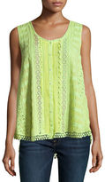 Johnny Was Nye Button-Front Georgette Eyelet Tank