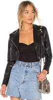 by the way. Sloane Faux Leather Cropped Moto in Black. - size L (also in M,S,XS,XXS)