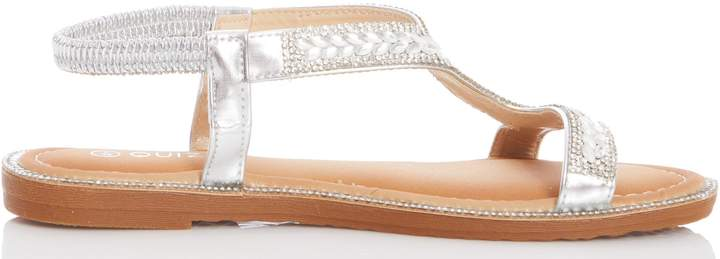 Sandals Diamante Silver Diamante Womensquiz Flat Womensquiz Silver fYv7b6gy