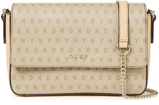 DKNY Monogram-print Faux Textured-leather Shoulder Bag