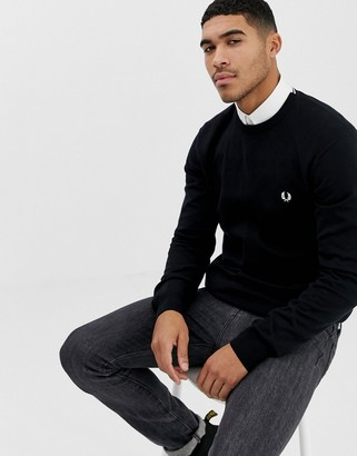 Fred Perry crew neck sweater in black
