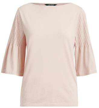 Ralph Lauren Pintuck-Sleeve Jersey Top