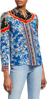 Alice + Olivia Willa Floral-Print Button-Down Long-Sleeve Silk Shirt
