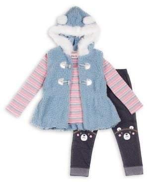 Little Lass Baby Girl's 3-Piece Faux Fur-Trim Teddy Hooded Vest, Striped Top & Leggings Set