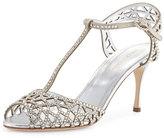 Sergio Rossi Tresor Crystal T-Strap Sandal, Silver