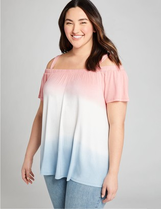 Lane Bryant Dip-Dye Cold-Shoulder Swing Top
