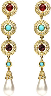 Ben-Amun 3-Stone Pearly Dangle Clip Earrings