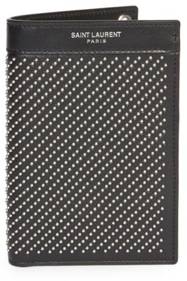 Saint Laurent Studded Leather Wallet-On-Chain