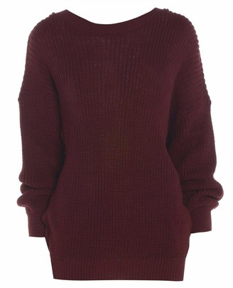 ZEE FASHION Ladies New Plain Chunky Knit Loose Baggy Oversized Jumper Tops Womens Long Sleeve Knitted Sweater Top Wine