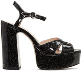 Marc Jacobs Black Glitter Lust Platform Sandals