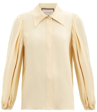 Gucci Balloon-sleeves Crepe Blouse - Cream