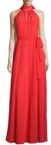 Kay Unger New York Sleeveless Halter Gown w/Chiffon Belt