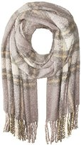 La Fiorentina Women's Oversized Plush Plaid Scarf with Fringe