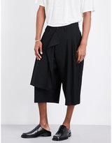 Yohji Yamamoto Wide-leg Cropped Wool Trousers