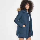 R essentiel Mid-Length Hooded Padded Jacket with Faux Fur Trim