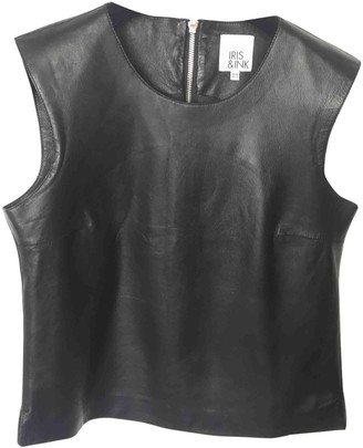 Iris & Ink Black Leather Top for Women