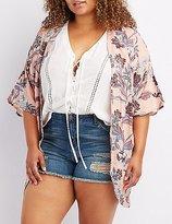 Charlotte Russe Plus Size Floral Lattice-Back Kimono