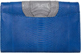 Khirma Eliazov Herzog Oversized Python & Crocodile Clutch Bag, Blue/Navy