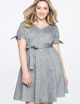 ELOQUII Button Down Fit and Flare Dress