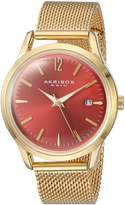 Akribos XXIV AK930RD Women's Quartz Stainless Steel Automatic Watch, Gold-Toned