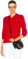 Comme des Garcons Double Emblem V Neck Sweater in Red.