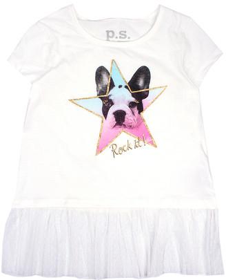 Aeropostale p.s. from Girls' Tee Shirts IVORY - White 'Rock It' Puppy Mesh-Hem Crewneck Top - Girls