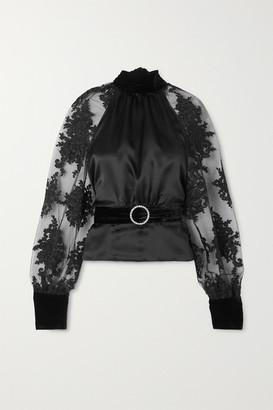 Harmur HARMUR - Open-back Belted Lace-trimmed Tulle, Silk-satin And Velvet Blouse - Black