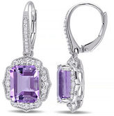 Concerto Amethyst White Topaz and Diamond Sterling Silver Drop Earrings