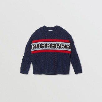 Burberry Childrens Logo Panel Cable Knit Wool Cashmere Sweater