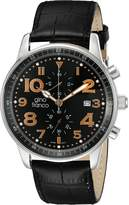 Volare Gino Franco Men's 911BK Round Multi-Function Leather Watch