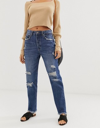 Stradivarius authentic mom jeans in ripped in dark wash