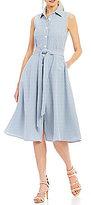Leslie Fay Seersucker Shirt Dress