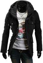 Fine-men clothes Fine Mens Military Style Hipster Hooded Long Sleeve Jacket Coat M